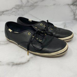 Keds Kate Spade Black Leather Sneakers Size 9